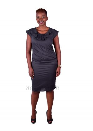 60.Charcoal grey, pleated pencil dress-front-ndg-fashion
