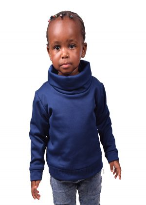 66. Kids, navy blue, turtleneck sweater-front-ndg-fashion