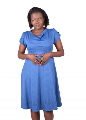 74. Blue, empire line, flared dress-front-ndg-fashion
